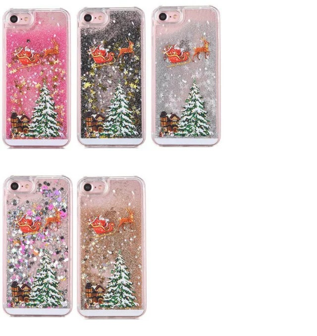 for iphone 7 case kawaii 3d santa claus liquid quicksand christmas tree bling glitter star snow cover for iphone7 plus cases