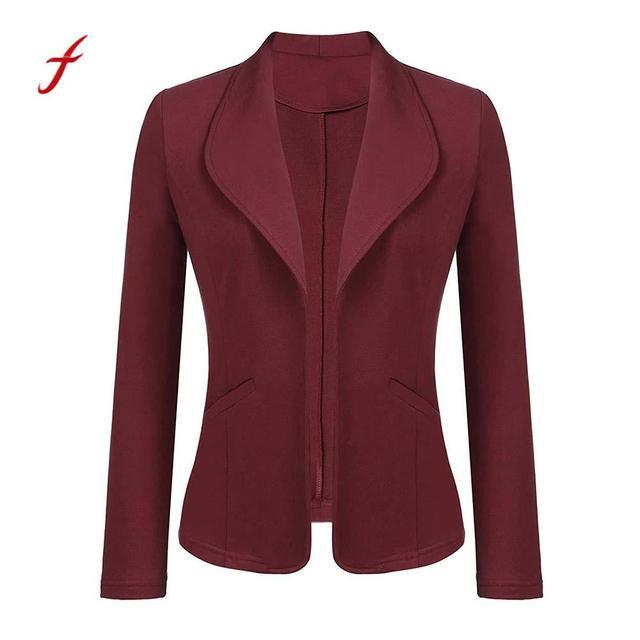 Feitong Women Blazer Jacket Fashion 2018 Women Long Sleeve Solid Cardigan None Button Elegant Work Office Slim Coat Lady Suit/PT