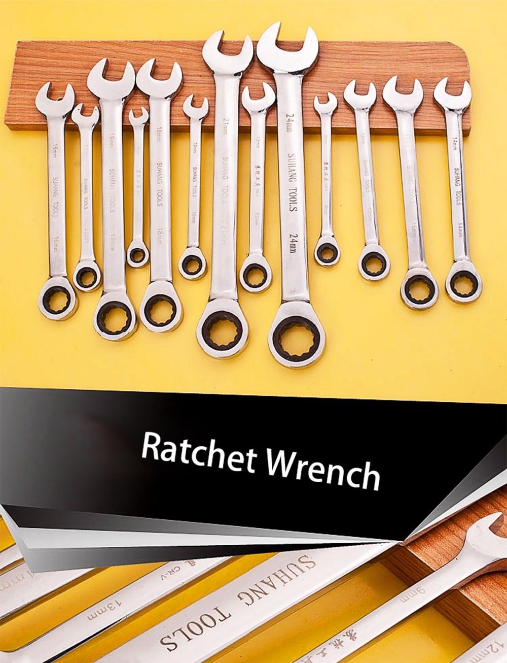 72 Ratel met fijne ratel Metrische moersleutel Ring-steeksleutel - Handgereedschap - Foto 2