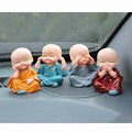 4pcs/ set  Car Decoration Four little monks Small Ornaments Lovely Car Interior Accessories Doll creative Maitreya resin gifts