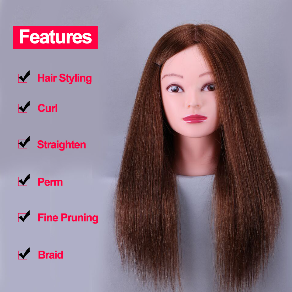 Cheap 100 Natural Human Hair Training Mannequin Head Cosmetology Hairdressing Mannequin heads Makeup with Long Hair