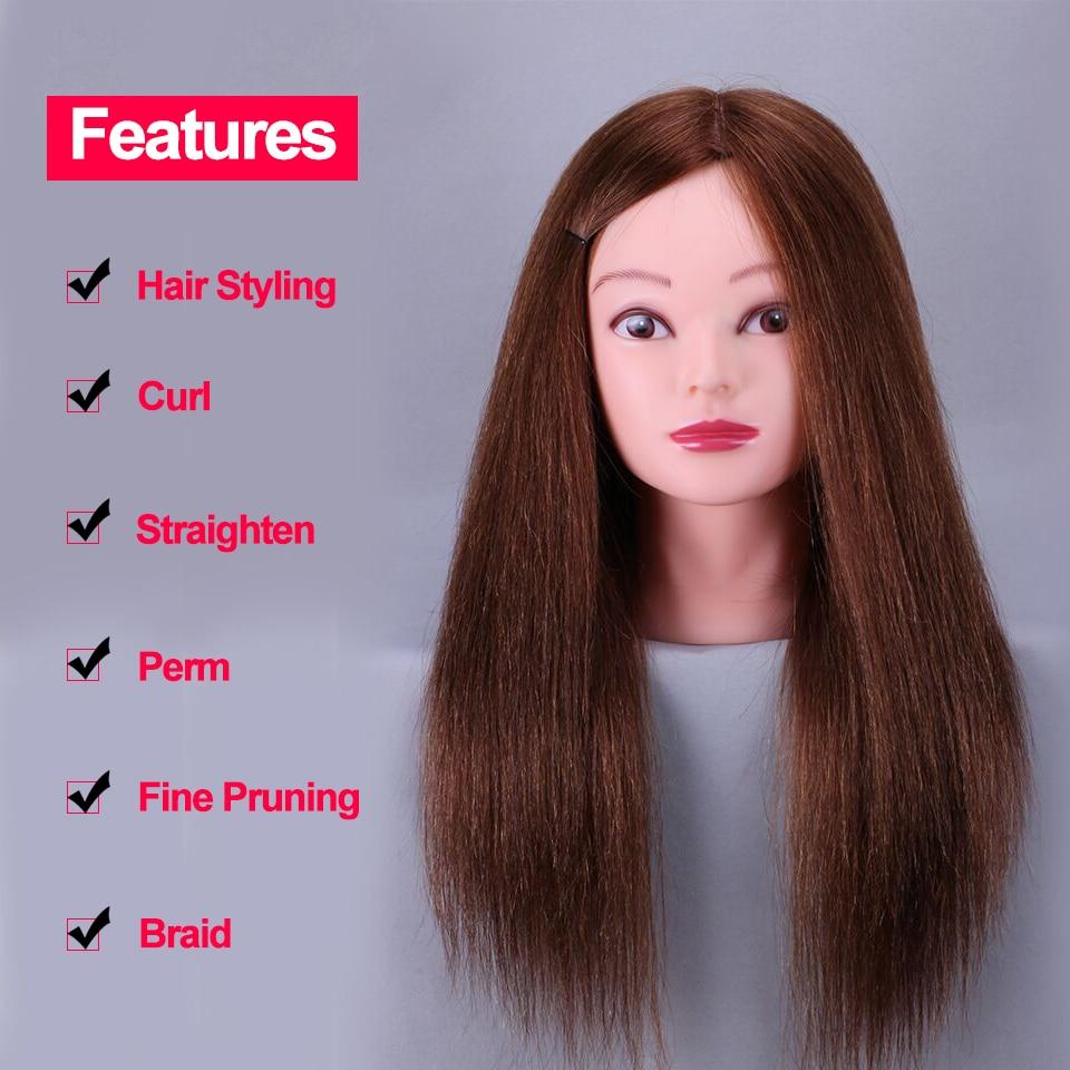 Barato 100% Natural Cabello humano Entrenamiento Maniquí Cabeza Cosmetología Peluquería Maniquí cabezas Maquillaje con cabello largo