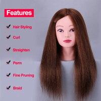 Tanie 100% Naturalny Ludzki Włos Fryzjerstwo Szkolenia Manekin Głowy Kosmetologii głowy Manekina Do Makijażu z Długimi Włosami