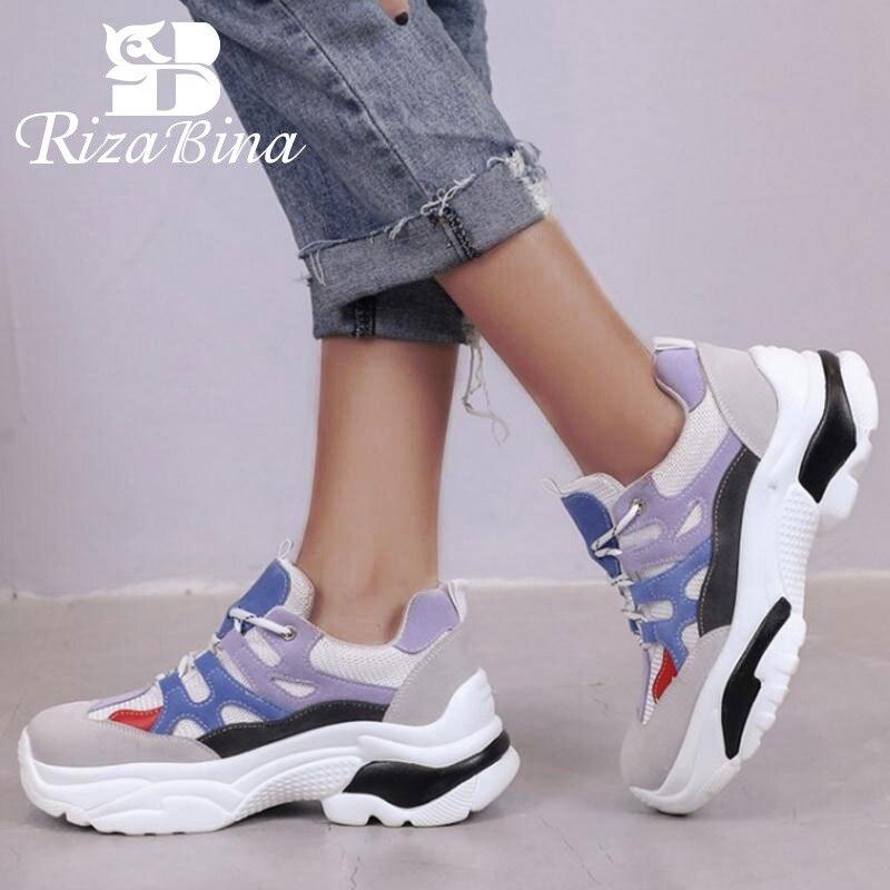 RIZABINA Casual Girl Vulcanized Shoes Platform Wedges Mixed Color Cross Tied Sneakers Mountain Hiking Women Size 35-40