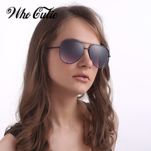 WHO CUTIE 2018 Pilot Sunglasses Women Brand Designer Retro Vintage Flat Top Sun Glasses Pink Black Gradient Shades UV400 OM739