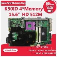 K50IE 512 M 4 Geheugen K50I K50IE X5DI K50ID board laptop moederbord moederbord Voor de 15.6-inch scherm notebook getest