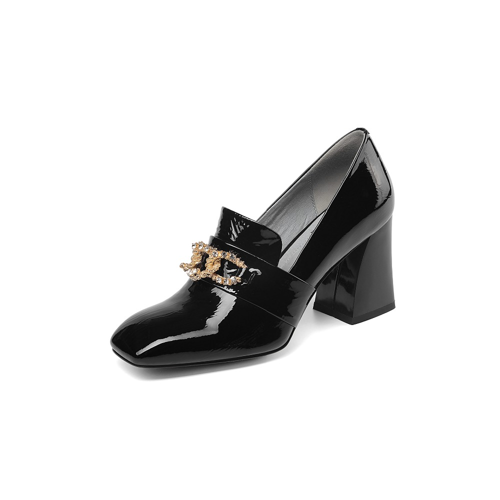 Simple and elegant luxury brand full leather rhinestone rough with women 39 s single shoes square head fashion high heels women in Women 39 s Pumps from Shoes