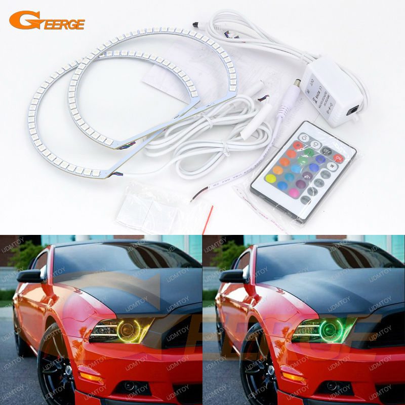 For Ford Mustang 2013 2014 headlight Excellent Angel Eyes Multi-Color Ultra bright RGB LED Angel Eyes kit Halo Rings ford mustang v6 2011