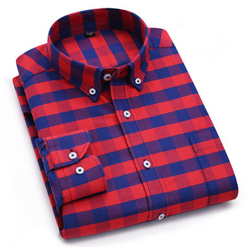 Top Business Men's Shirt Fashion Casual Pure Cotton Oxford Long Sleeve Chemise Homme StripePlaid Male Clothes Camiseta Masculina