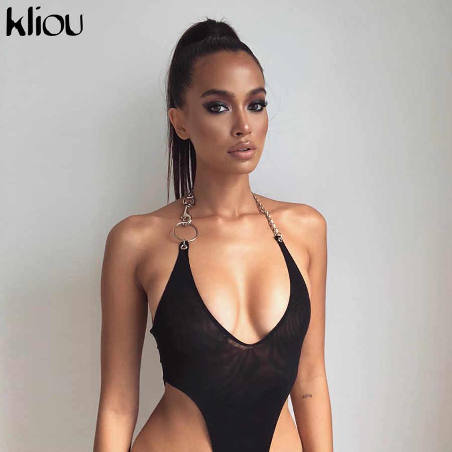Kliou mujeres sexy malla material halter bodysuit 2019 nueva llegada sólido Delgado sexy Fiesta club femenino ver a través mono