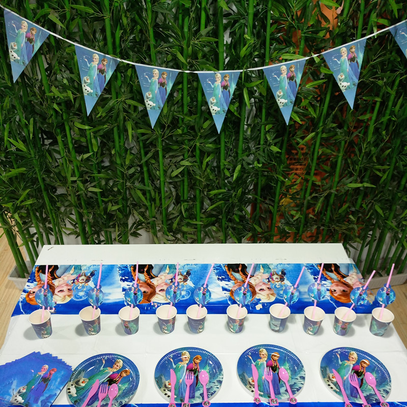 82pcs Anna Tablecloth Cups Plates Napkin Knife Fork Spoon Kids Birthday Party Supplies Decoration Favors in Disposable Party Tableware from Home Garden