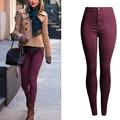 Olrain Mulheres Moda Doce Cor de Cintura Alta Lápis Calças Skinny Slim Calças Casuais 9 Colors-AM02