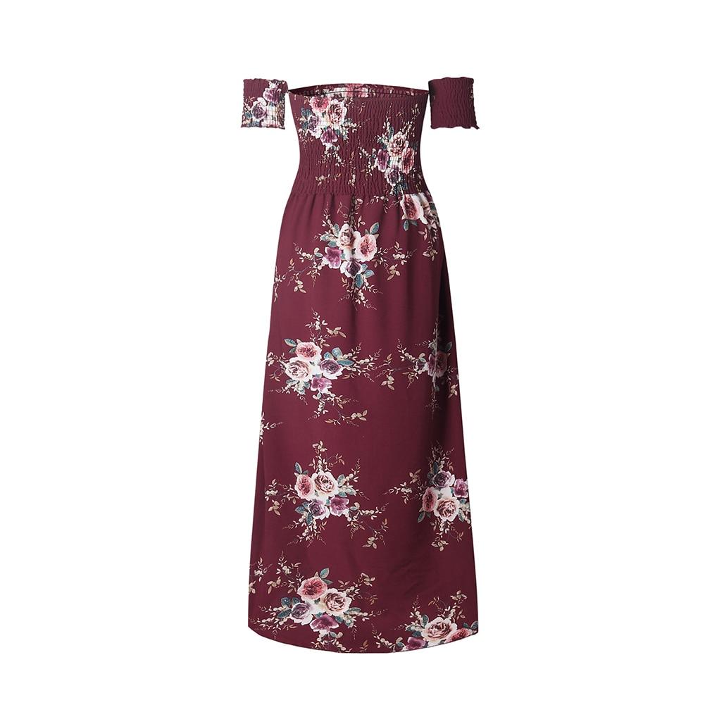 Boho Style Long Dress Women Summer Off Shoulder Floral Print Beach ...