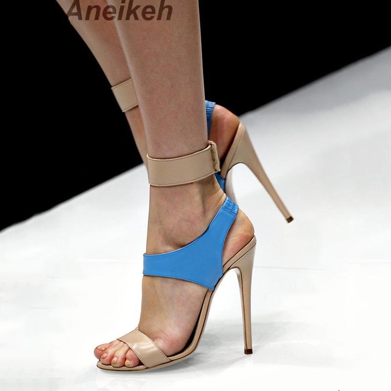 Aneikeh High Heels Sandals Women Summer Shoes Elastic band Open Toe Gladiator Wedding Party Dress Shoes Woman Sandals Apricot цена 2017