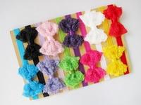 10 PCs por Set 10 cores bebê meninas Elastic rendas Headband Handmade frete grátis
