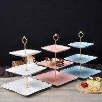 Ano novo de Natal Criativo Do Casamento de Cerâmica Bolo Prato de Sobremesa Prato de Frutas Três Osso China Chá Da Tarde Bandeja Lidar Com Coroa