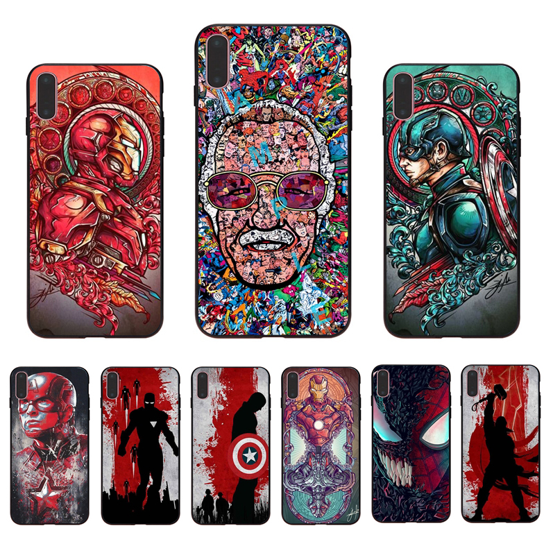 IMIDO Marvel Avengers League Endgame Retro painting Soft phone case for iphone X XS XR XSmax 7 8 6 5 6s/6/7/8plus 5/6S SE shell
