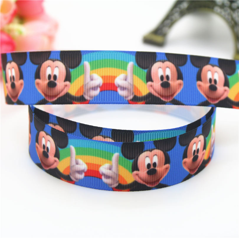 DUWES DUWES 7/8 Free shipping Mic min cartoon mouse printed grosgrain ribbon hairbow headwear party decoration 22mm D655