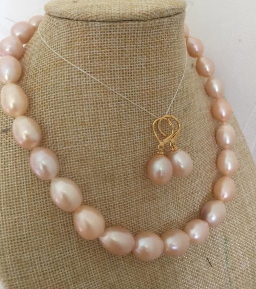 set s of 13-15mm south sea baroque gold pink pearl necklace &earring 925silver