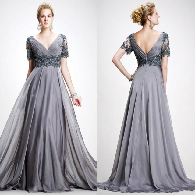 ae022956489aa Silver Gray Short Sleeves Prom Dress Elegant V Neck Chiffon Satin Plus Size  Backless Evening Gowns PZ05-in Prom Dresses from Weddings & Events