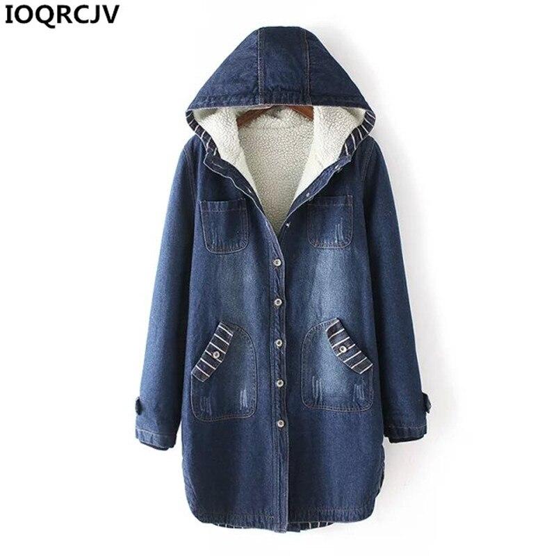 Plus size S-3XL Winter Denim   Jacket   Women New Thicken Jeans Clothing Warm Hooded Casual Denim Coat Add Wool Women   Basic   Coats