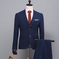 2017 Italian Style Dark Navy Blue Groom Tuxedos 3 Piece Slim Fit Mens Wedding Prom Dinner