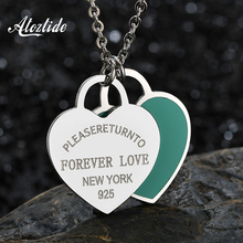 Atoztide Charm Blue Pendant Necklace Double Heart Forever Love Letter Necklace For Women Girls Jewelry Gifts Collier Femme