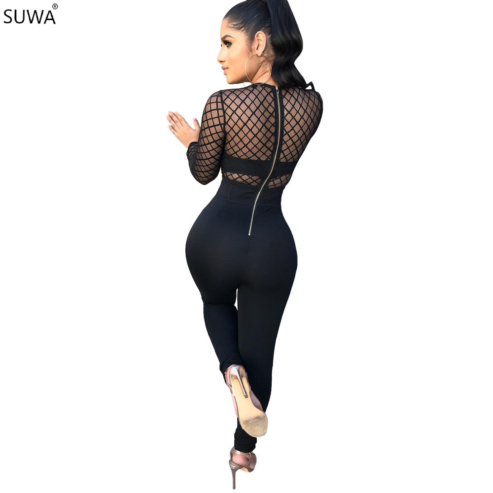 Hollow Out Sexy Bodycon Jumpsuit Women Black V-Neck Skinny Romper Casual Ladies Full Length Overall W8031