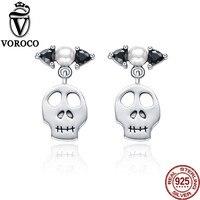 VOROCO Echt 925 Sterling Silber Weiß Natürliche Süßwasserperlen Einzigartige Schädel Ohrringe für Frauen Hochzeit Geschenk Partei Schmuck