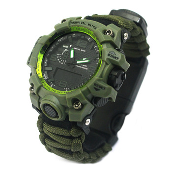New Arrival Outdoor Sports Watch with Emergency Compass Thermometer Survival Tools Electronic Dual Luminous Waterproof Watch 5