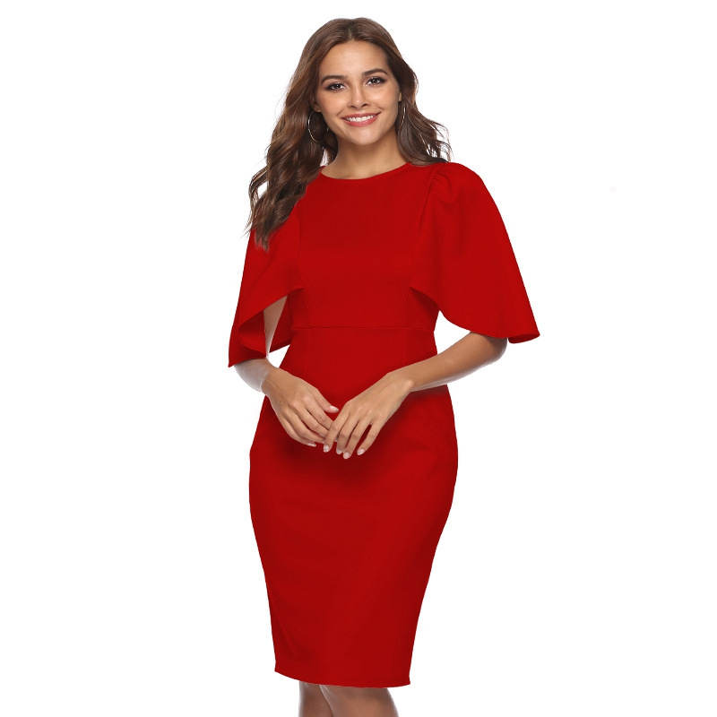 Women Elegant Ruffle Sleeve Ruched Pinup Vestidos Party Wear To Work Fitted Stretch Slim Wiggle Pencil Sheath Bodycon Dress Suit 10