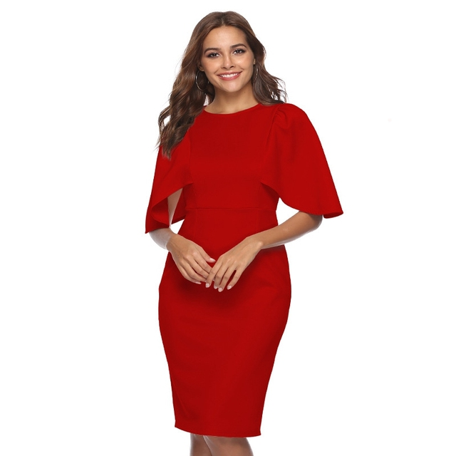 Women Elegant Ruffle Sleeve Ruched Pinup Vestidos Party Wear To Work Fitted Stretch Slim Wiggle Pencil Sheath Bodycon Dress Suit 5