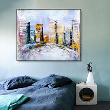 Laeacco Canvas Painting Calligraphy City Buildings Watercolor Posters and Prints Abstract Graffiti Wall Pictures for Home Decor