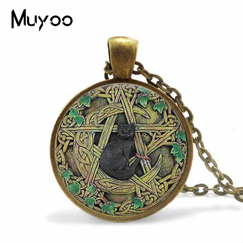 Vintage Glass Dome Pendant Black Wicca Pendant Necklace Magical Pentagram Wiccan Black Cat Jewelry Charm HZ1