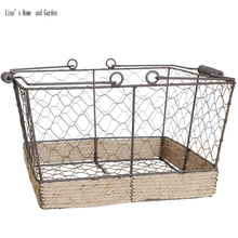 huge selection of cab18 a5d93 American farmhouse handmade retro vintage wire storage basket(China)