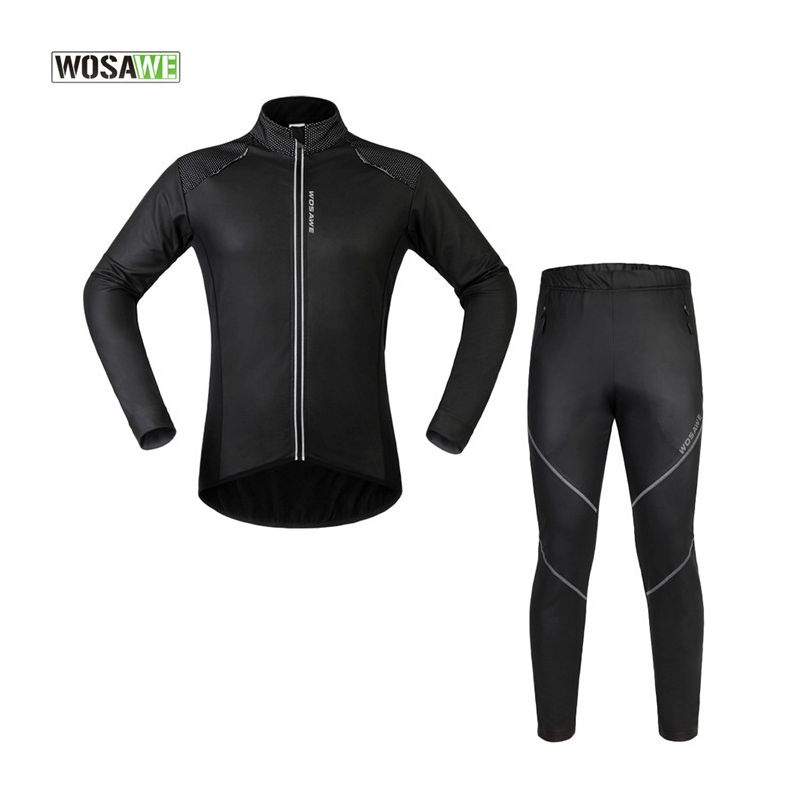 WOSAWE Thermal Fleece Winter Cycling Jackets Sets Waterproof Windproof Mens Bike Long Coat Sportswear + Pants Bicycle Tights santic mens winter bicycle bike long pants windproof fleece thermal tights james outdoor sports pants cycling clothing