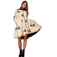 2018 new winter stand collar long sleeve Flower print down coat loose big hem warm coat women down jacket fashion winter coat