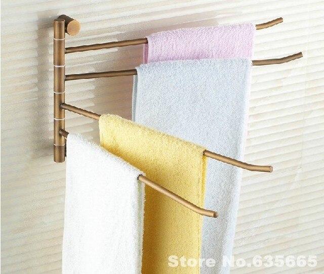 Antique Luxury Elegant Solid Brass Rod Vintage Swivel Towel Rack Rod