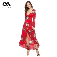 V Neck Long Sleeve Summer Beach Dress Maxi Boho Red Floral Robe Hiver Ladies Long Wrap