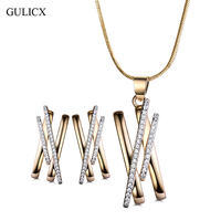 GULICX Unique N Design Round CZ Crystal Jewelry Sets Gold Color Necklaces Pendant Stud Earrings Gifts