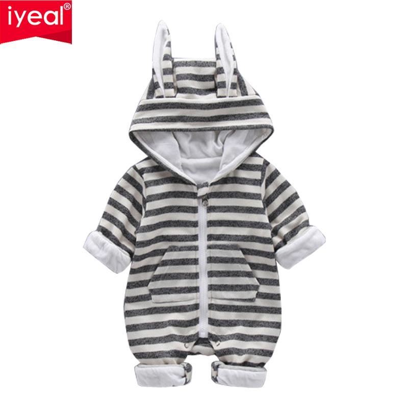 IYEAL Cute Rabbit Ear Hooded Striped Baby Rompers For Newborn Boys Girls Clothes Brand Kids Jumpsuit Infant Costume Baby Outfit цена