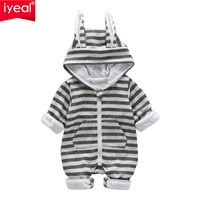 IYEAL Cute Rabbit Ear Hooded Striped Baby Rompers For Newborn Boys Girls Clothes Brand Kids Jumpsuit