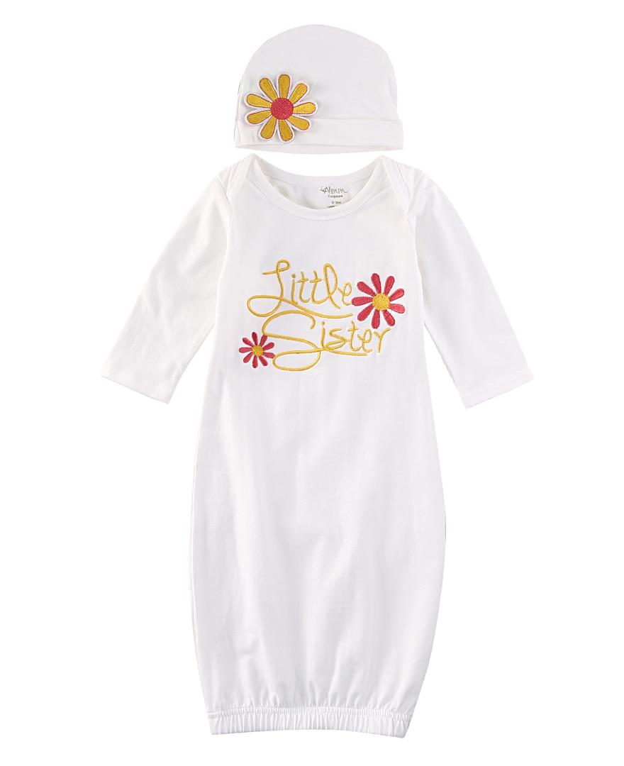 Slim 2018 Nieuwe Schattige Baby Meisje Kleding Pasgeboren Baby Meisje Nemen Home Baby Gown Bloemen Nachtkleding Kostuum Hoed Hoog Gepolijst
