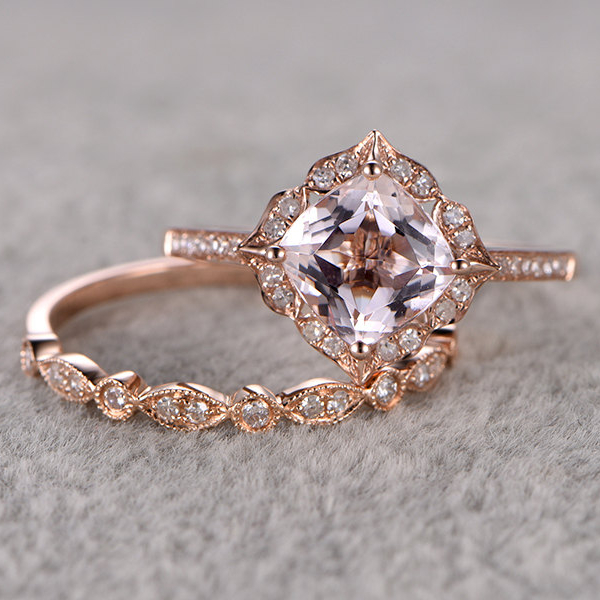 Ring For Women 2pcs 15 CT Morganite Engagement Ring 14k Rose Gold