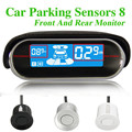 Weatherproof 2 Rear Front View Car Parking Sensor 2 Sensors Reverse Backup Radar Kit System with LCD Display Monitor