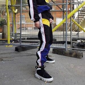 Image 2 - Weekeep Women High Waist Patchwork Pants Black Pencil Pants Streetwear Cargo Pants Loose Jogger Trousers Women 2019 Sweatpants