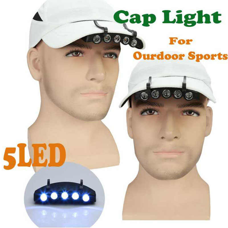 Night Safety Clip  6 LED Head Cap Brim Light Fishing Outdoor Head Lamp Torch