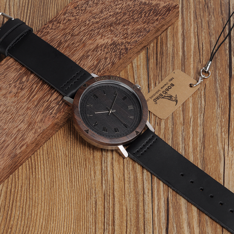 Image 5 - BOBO BIRD WK05 Mens Watch Rome Number Dial Face Soft Leather Band Japan Quartz 2035 Wristwatch Drop Shipping Accept OEM Relogio-in Quartz Watches from Watches