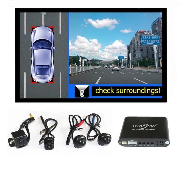 Sistema de visión panormic WEIVISION Universal 360 vista de pájaro, HD Coche DVR del coche de 4 canales around view monitor puerto USB, 16 GB TARJETA de regalo
