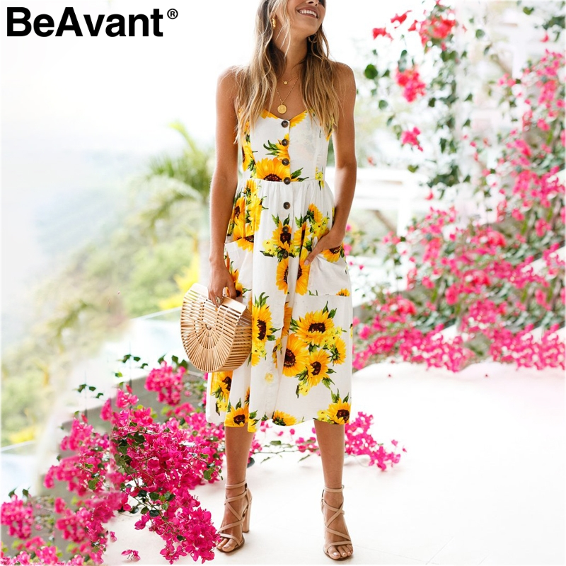 5d268f12202 Detail Feedback Questions about BeAvant Strap Sunflower print summer dress  women Casual v neck backless party dress vestidos High wasit midi dress  female ...